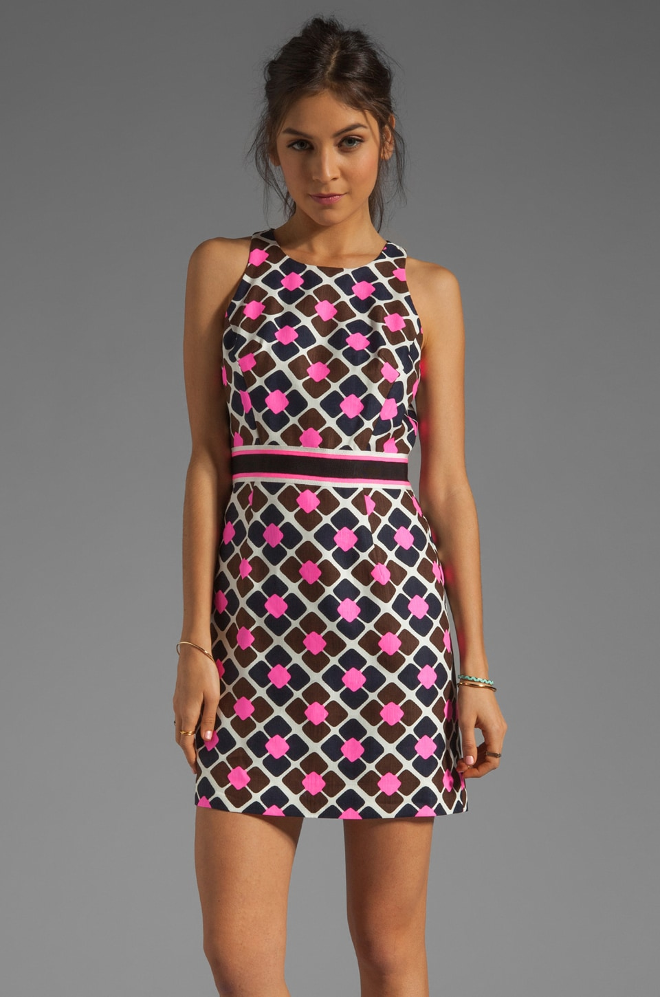 Milly Anna Tile Print On Silk Linen Sheath Dress In Solid Shocking