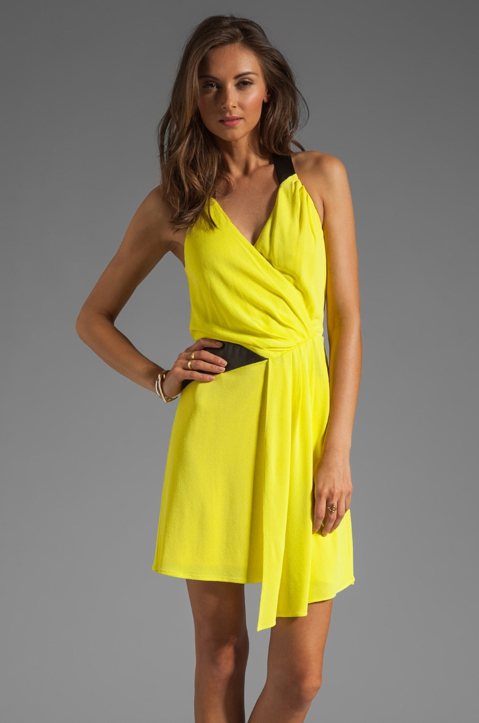 MILLY Italian Crepe Jersey Zip Halter Dress in Lemon