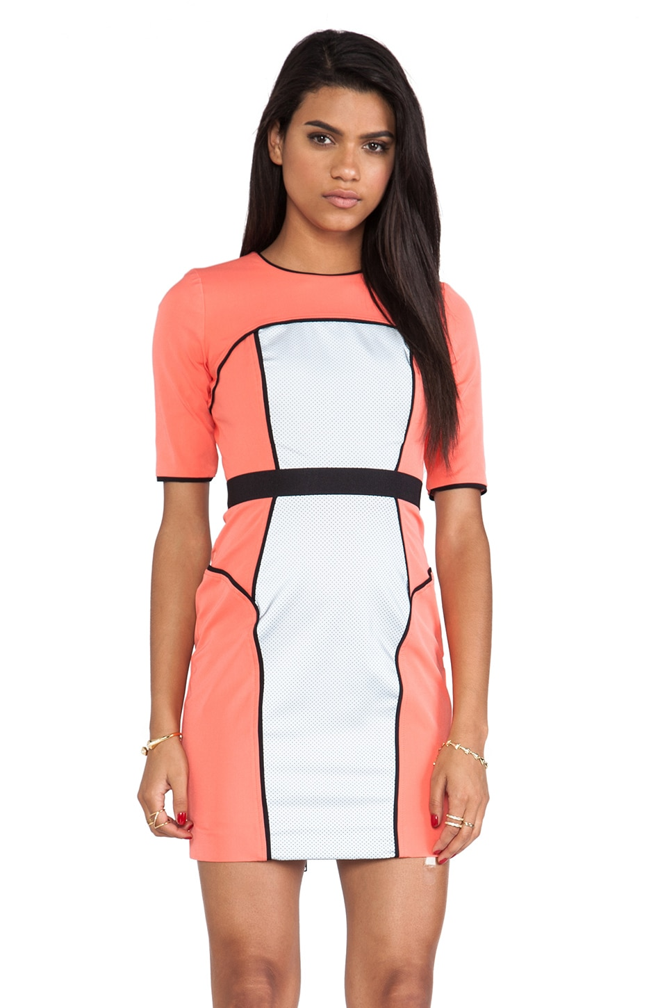 MILLY Italian Power Stretch Reflective Sleeve Dress in Coral