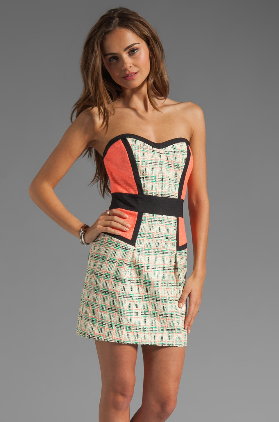 MILLY Catalan Paper-Finish Tweed Sweetheart Dress in Multi