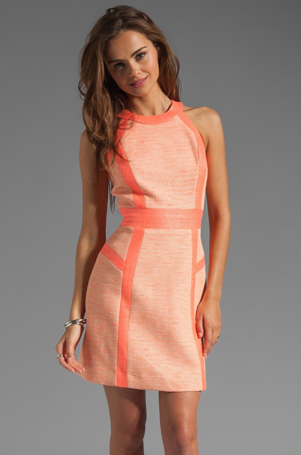 MILLY Neon Couture Cotton Tweed Piped Strappy Dress in Multi