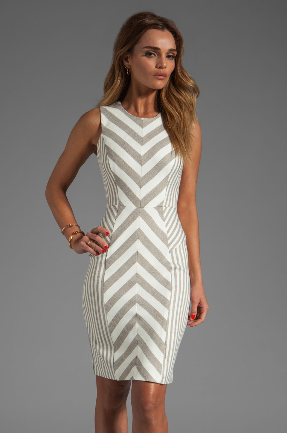 MILLY Fabulous Italian Stretch Stripes and Mini Stripes Tank Dress in Cork