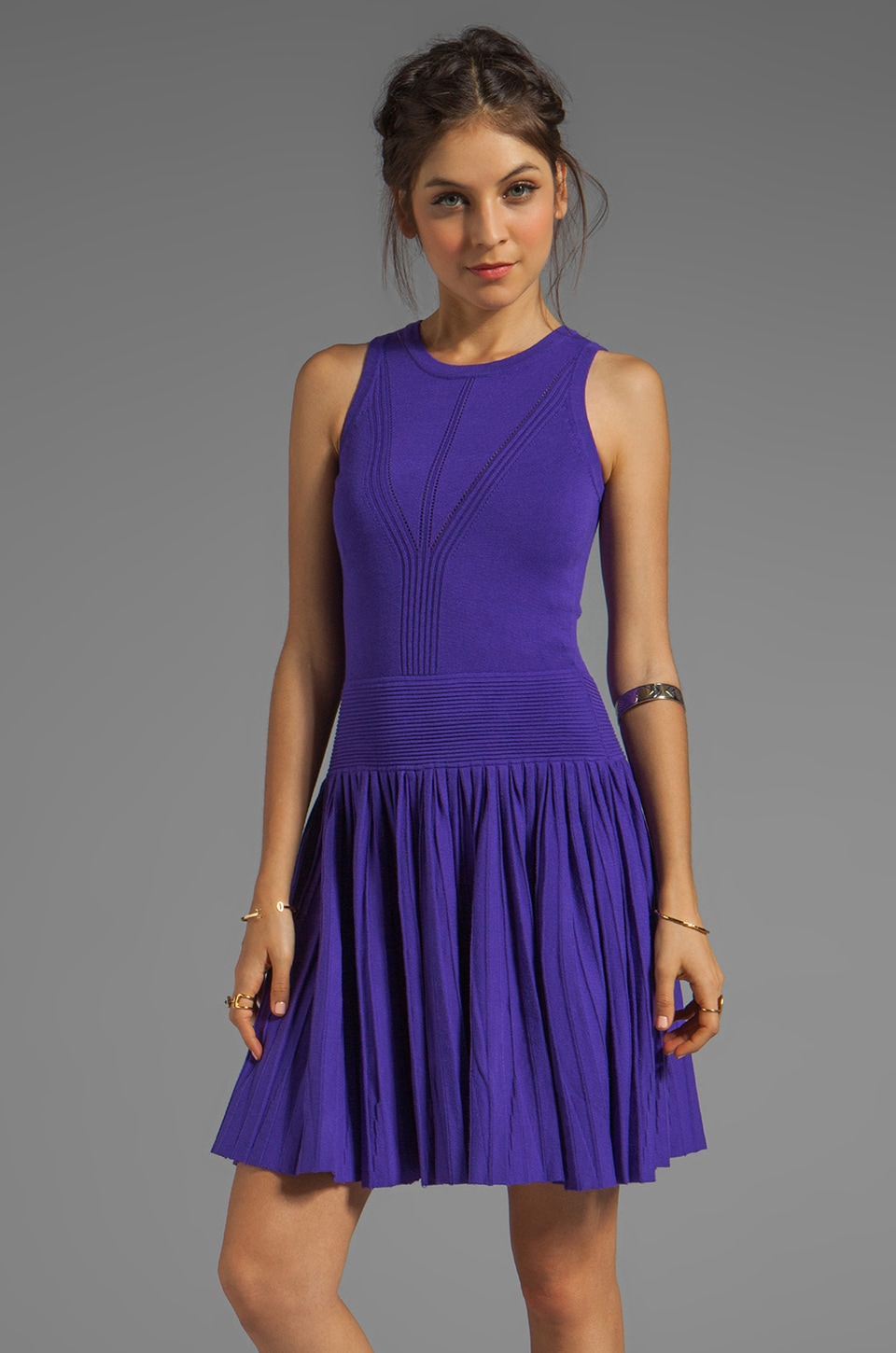MILLY April Knits Josephine Pleated Dress in Grape