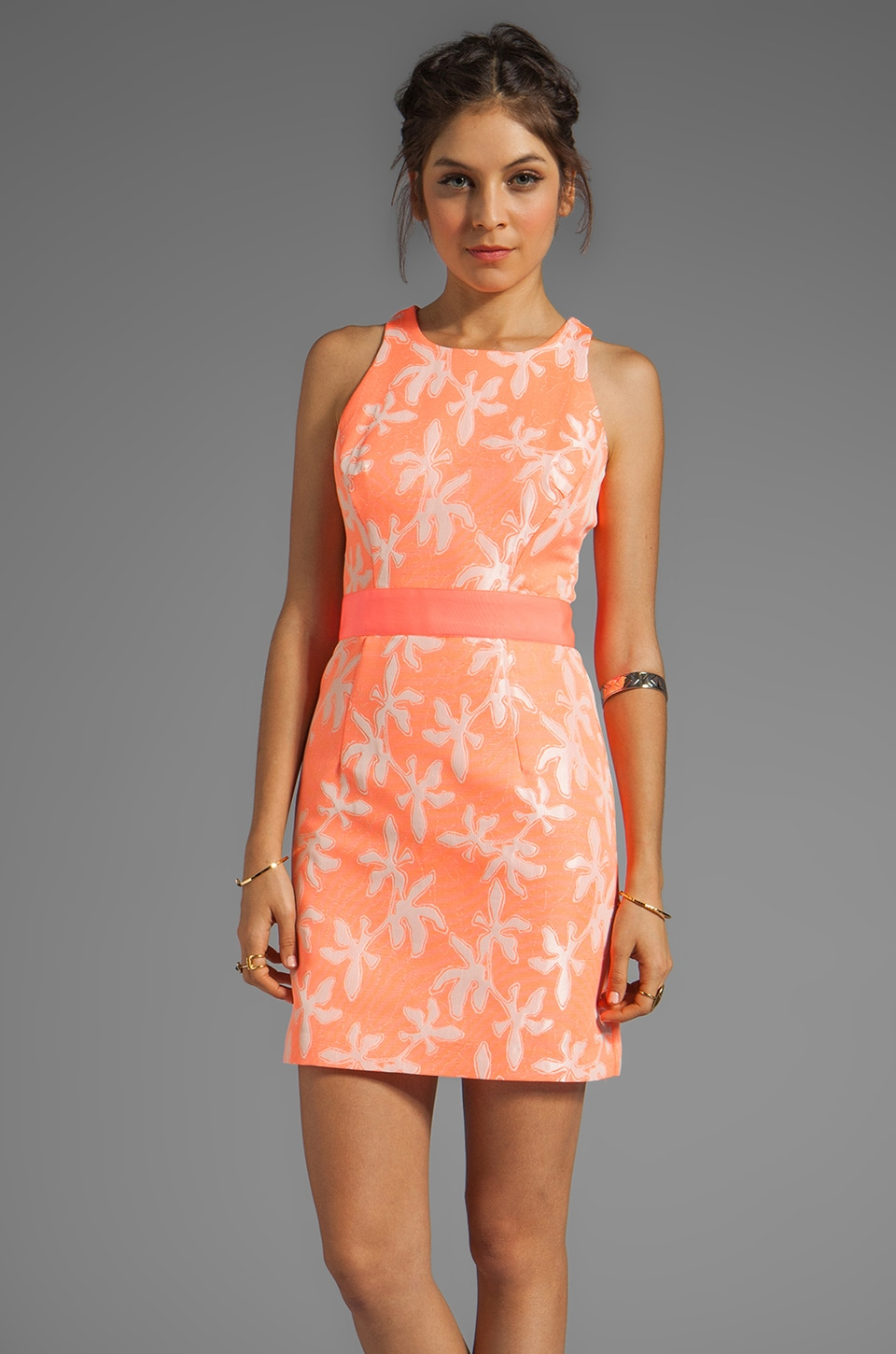 MILLY Neon Jacquard Sonya Sheath Dress in Fluo Melon