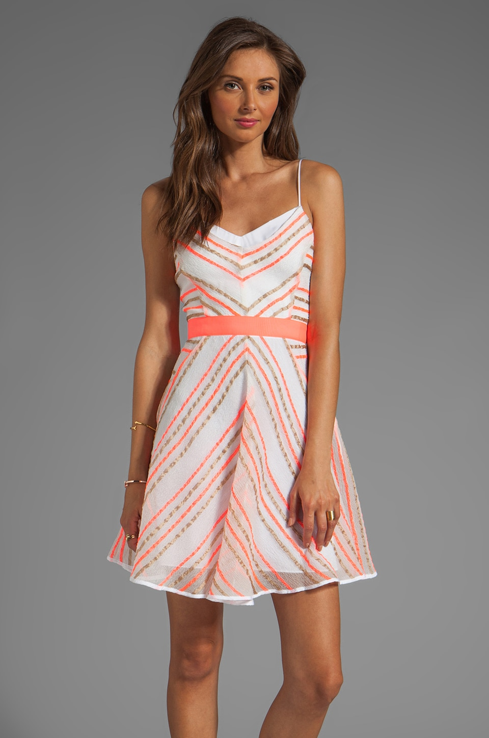 MILLY Neon Stripe Jacquard Sadie Double Layer Dress in Multi
