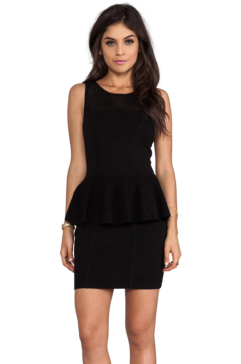 MILLY May Knits Nicole Peplum Dress in Black