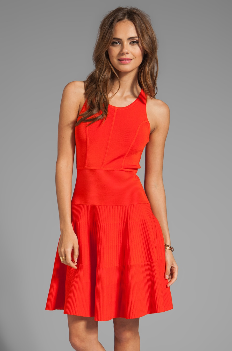 MILLY May Knits Delilah Closed Back Flare Dress in Kumquat