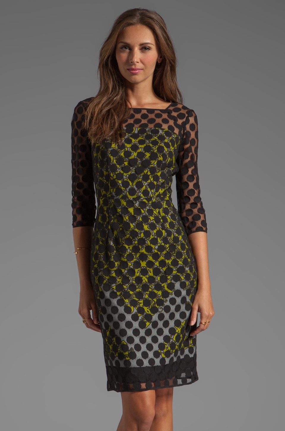 MILLY Ornamentale Print Elise Sleeve Sheath Dress in Citron