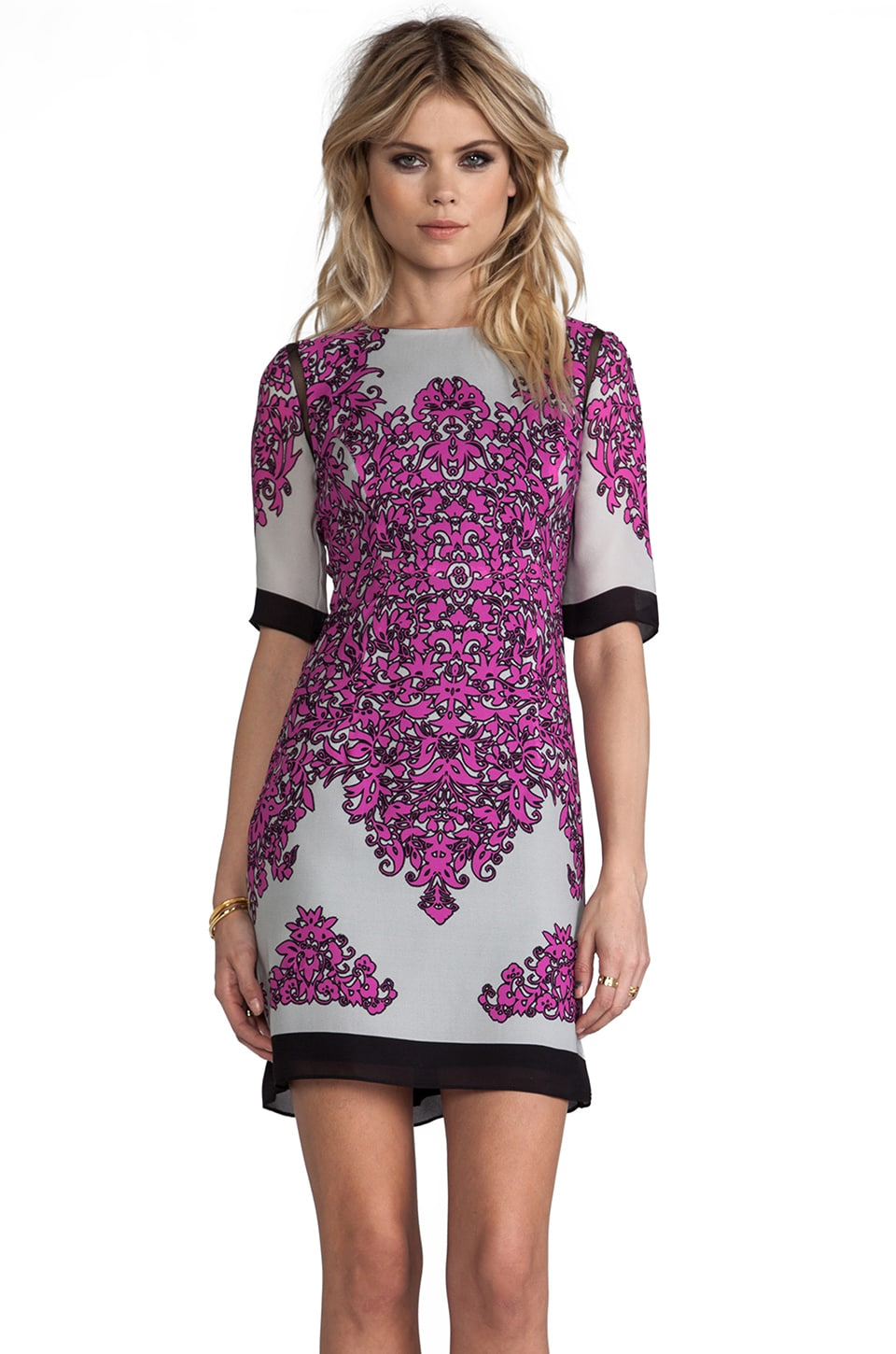 MILLY Oranamentale Print Blaire Combo Shift Dress in Shocking Pink