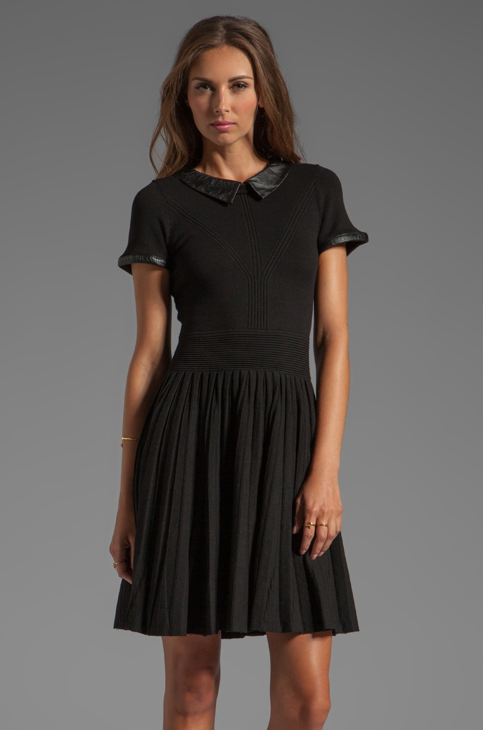 MILLY June Knits Leather Collar Josephine Dress in Black