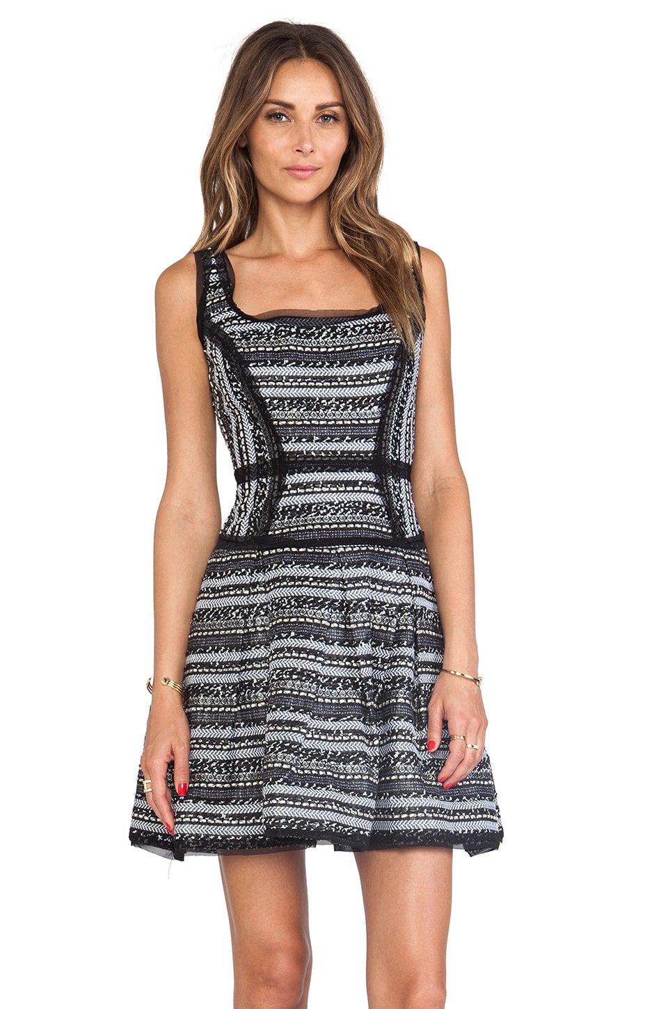 MILLY Malhia Couture Tweed Piper Party Dress in Black