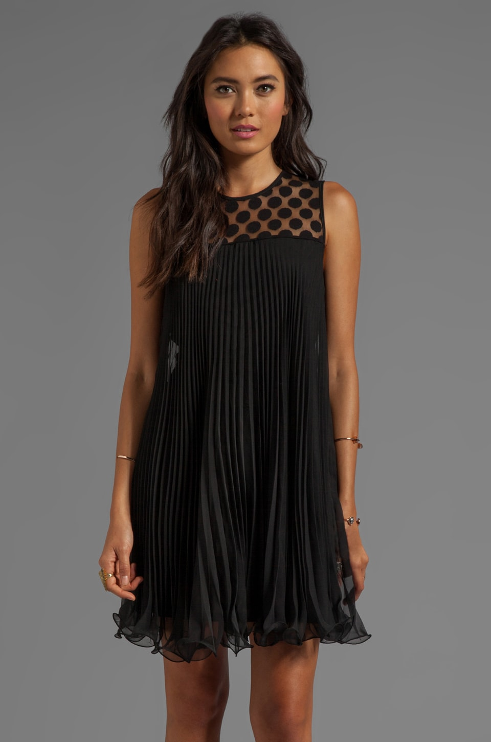 MILLY Gumball Dot Lace Carolyn Pleated Dress in Black