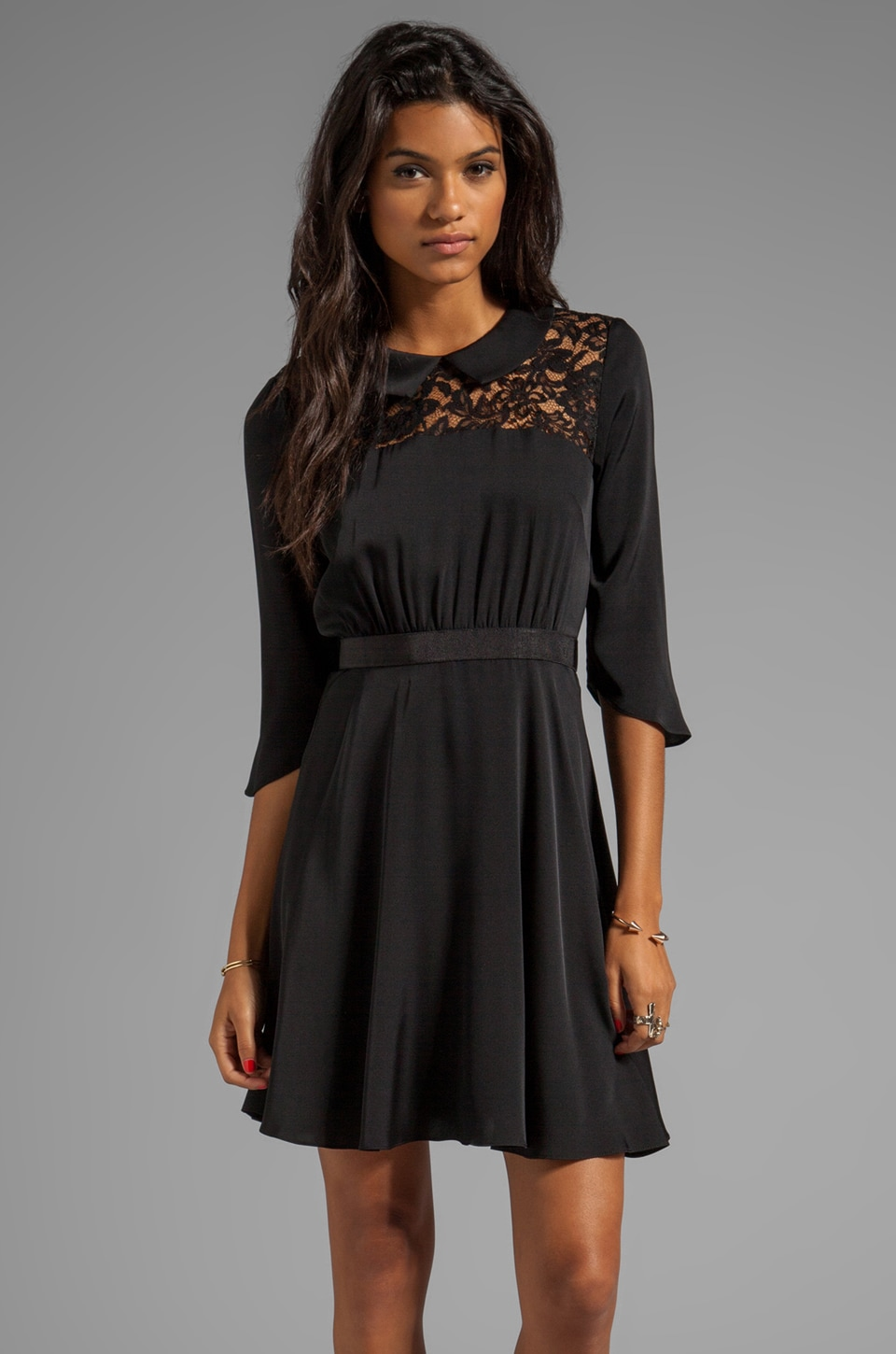 MILLY Stretch Matte Silk Lace Panel Dress in Black