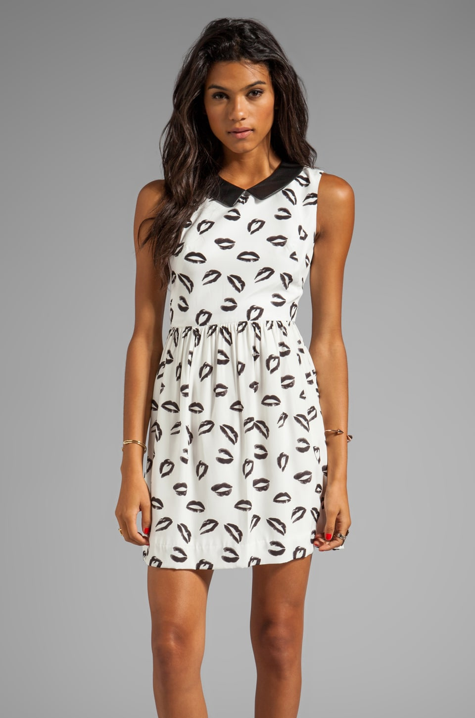 MILLY Kiss Print Leather Collar Gathered Skirt Dress in Black