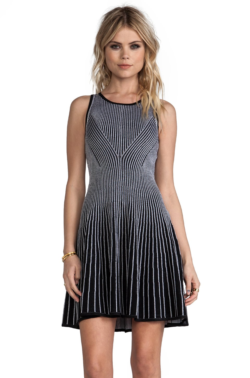 MILLY Knit Two-Toned Rib Stretch Dress in Black/White