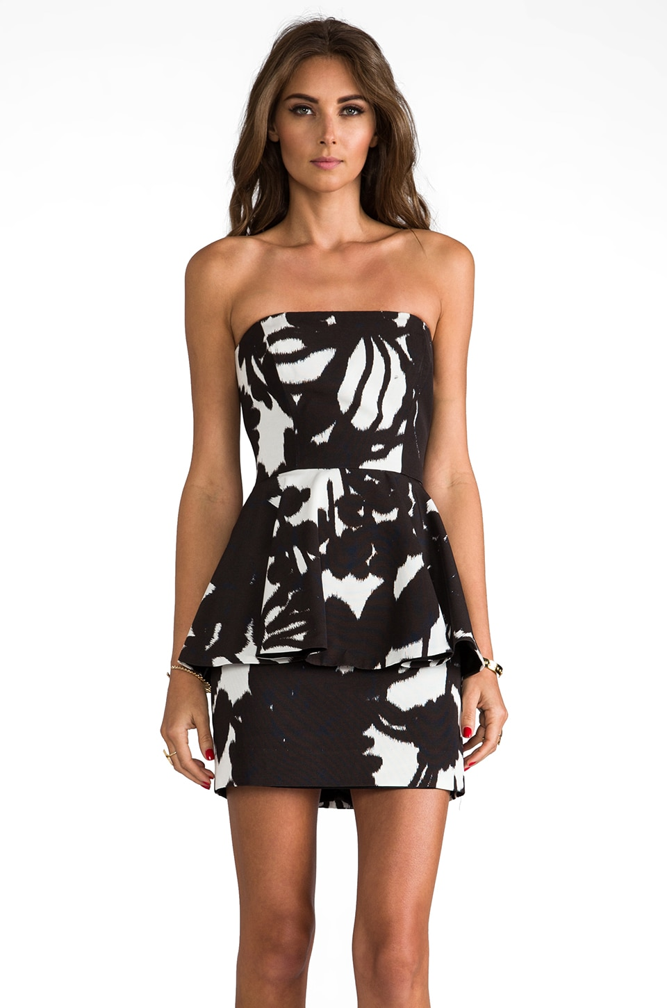 MILLY RUNWAY Floral Shadow Print Paneled Strapless Full Peplum Dress in Ivory