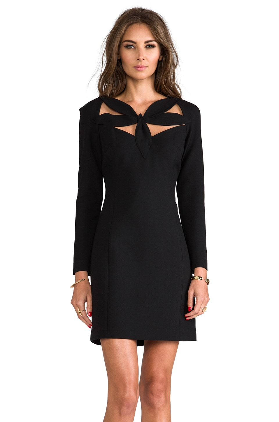 MILLY RUNWAY Stretch Doubleweave Neckline Detail Dress in Black