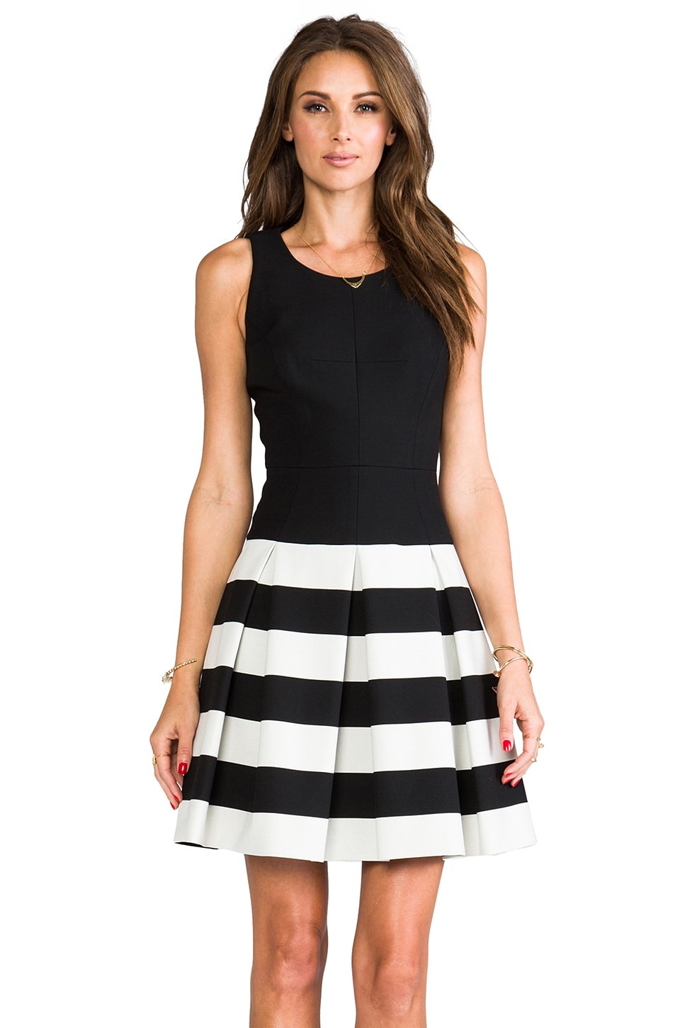 MILLY Stretch Doubleweave Drop-Waist Pleated Skirt Dress in Black/Ivory
