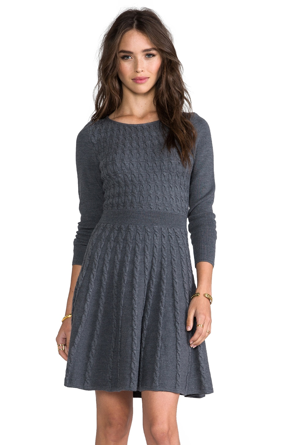 MILLY Cable Fit and Flare Sweater Dress in Graphite