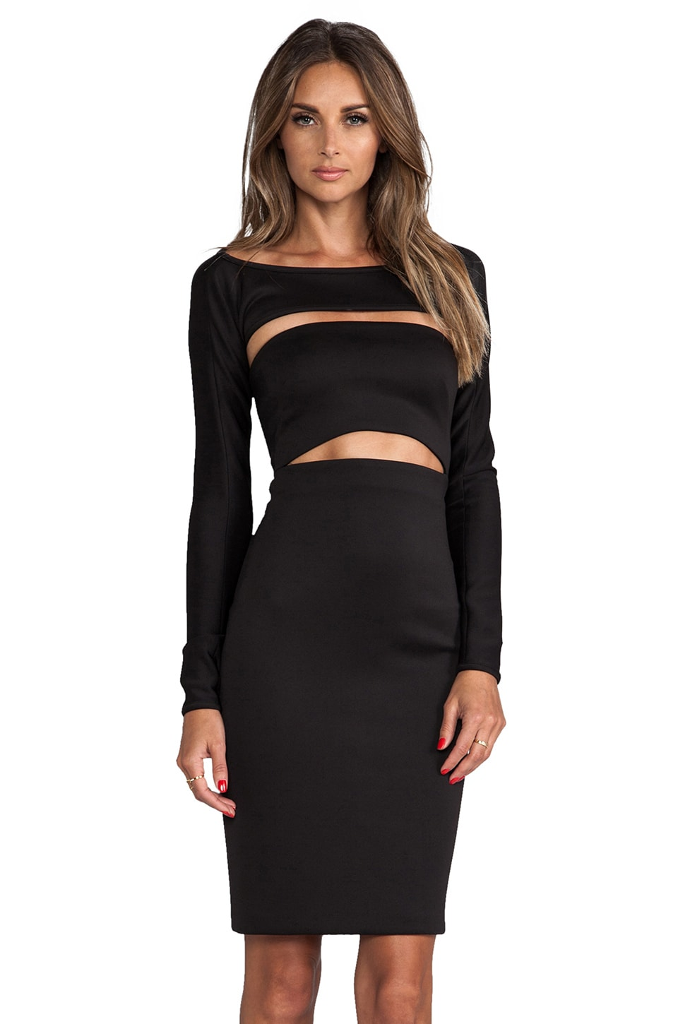 MILLY Cut-Out Shrug Dress in Black