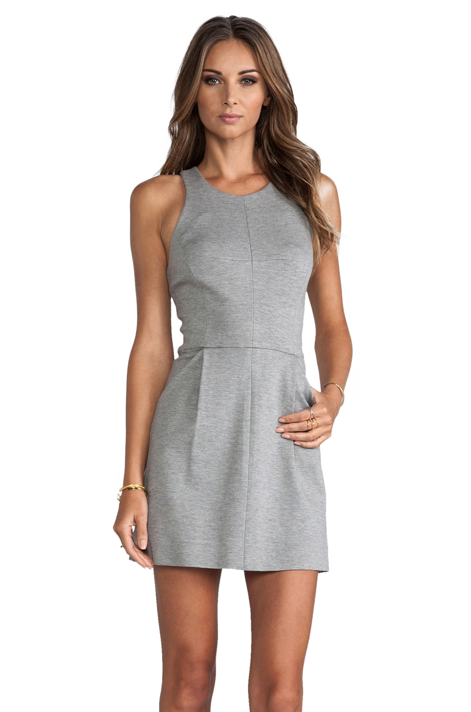 MILLY Pocket Shift Dress in Heather Grey