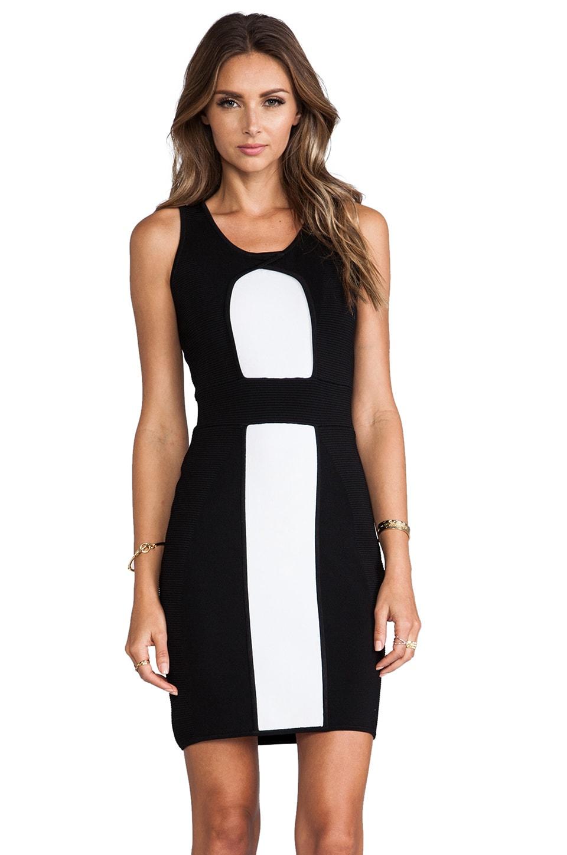 MILLY Body-Con Stretch Sheath Dress in Black & White