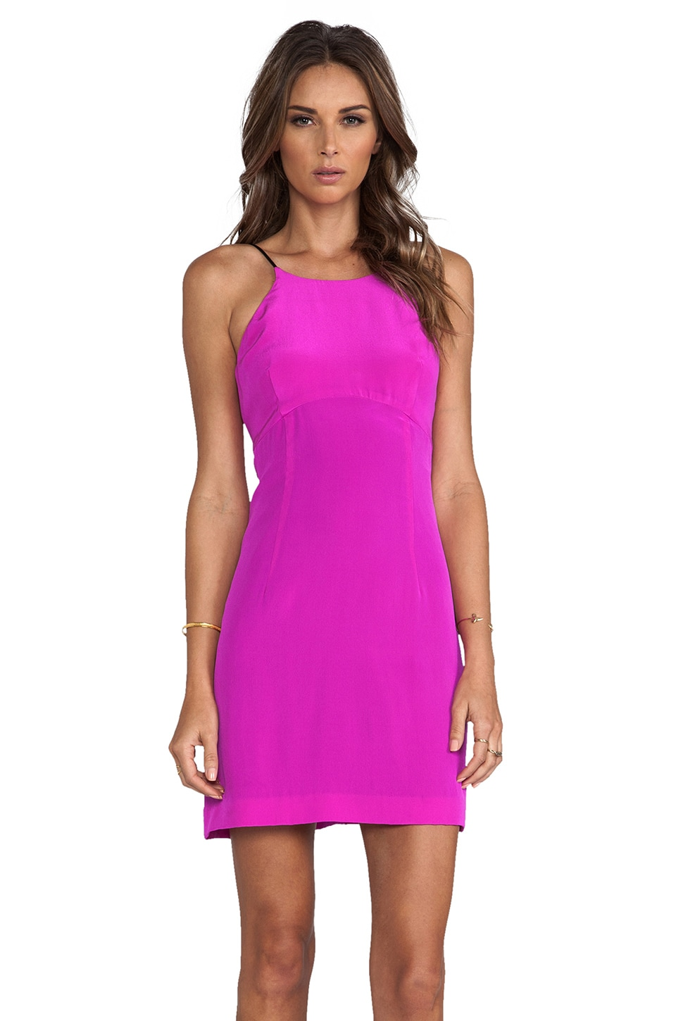 MILLY Sandwashed Silk Empire-Waist Shift Dress in Shocking Pink