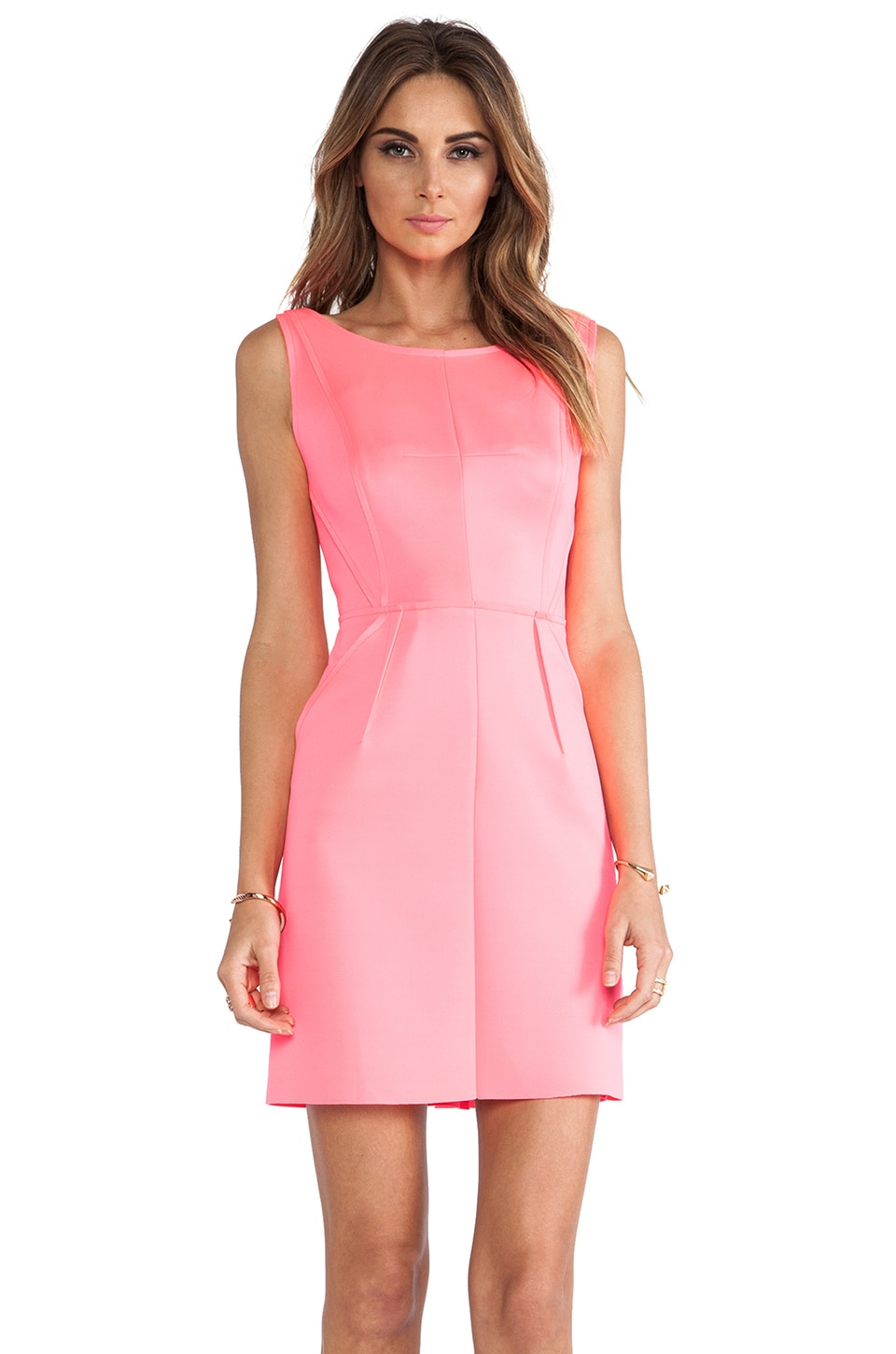 MILLY Seamed Detail Shift Dress in Fluo Pink