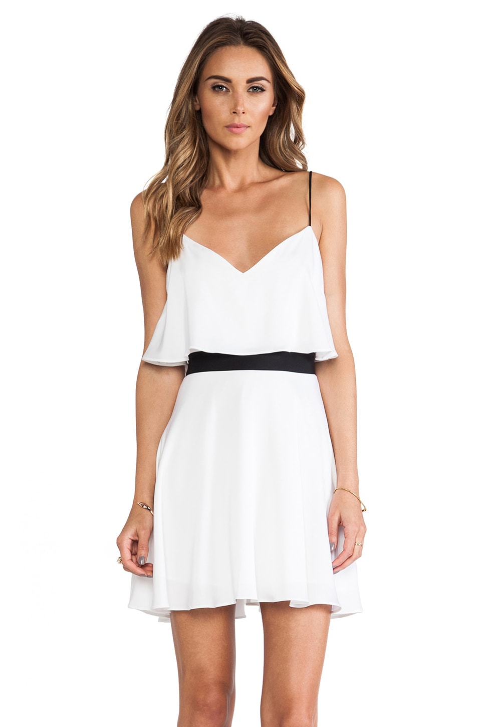 MILLY Flared Tank Dress in White