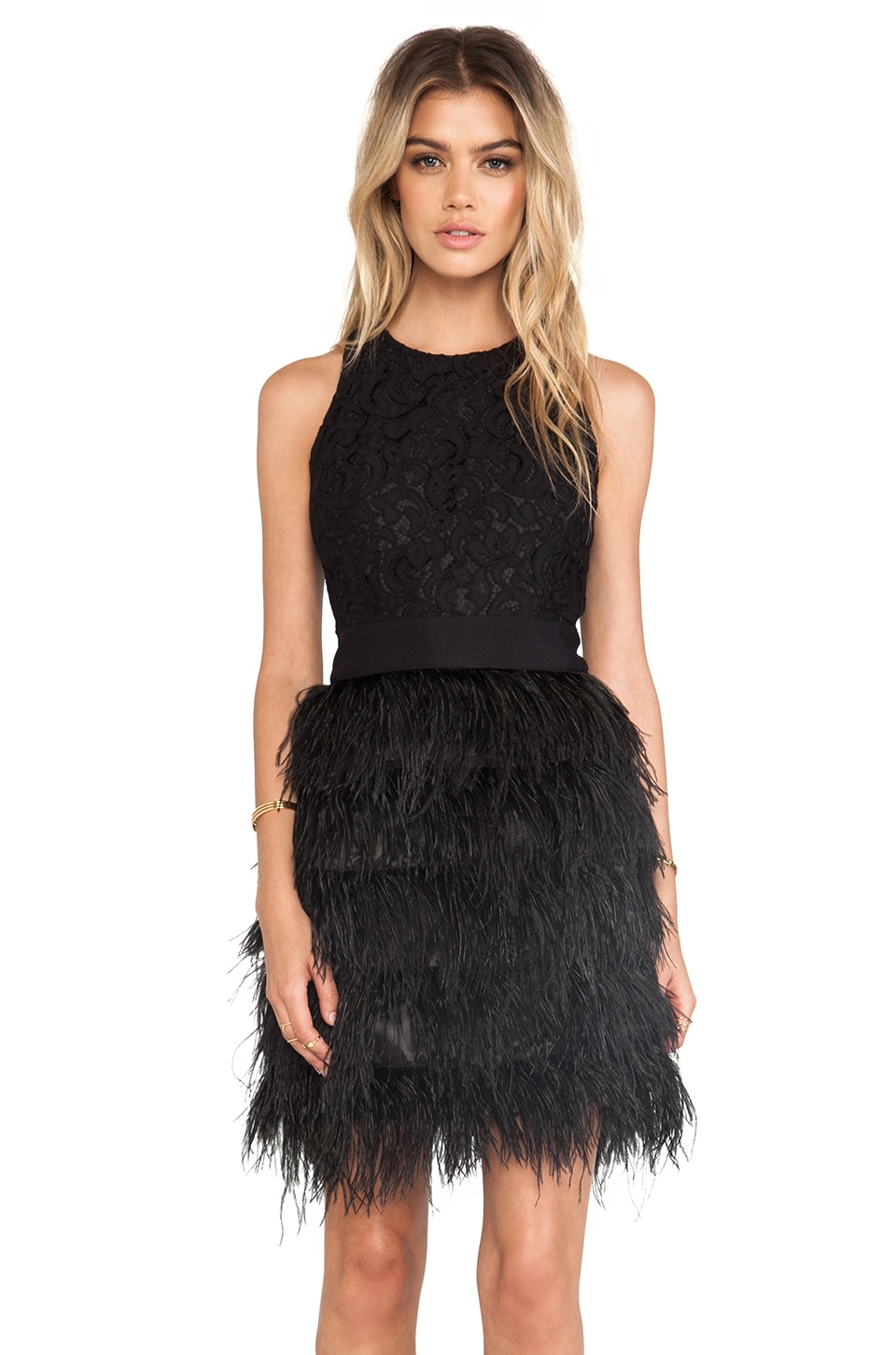 MILLY Blair Feather Dress in Black