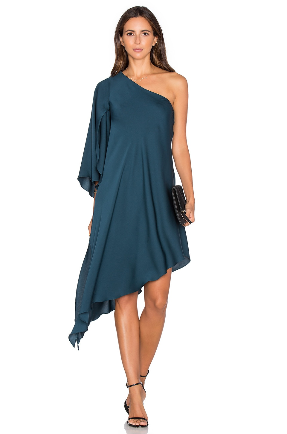 MILLY Tori One Shoulder Dress in Peacock