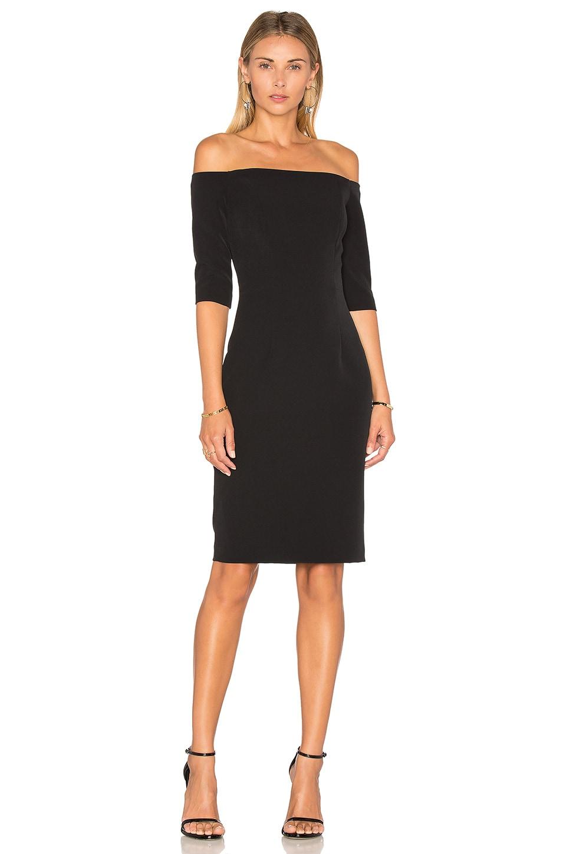MILLY Slim Off the Shoulder Dress in Black