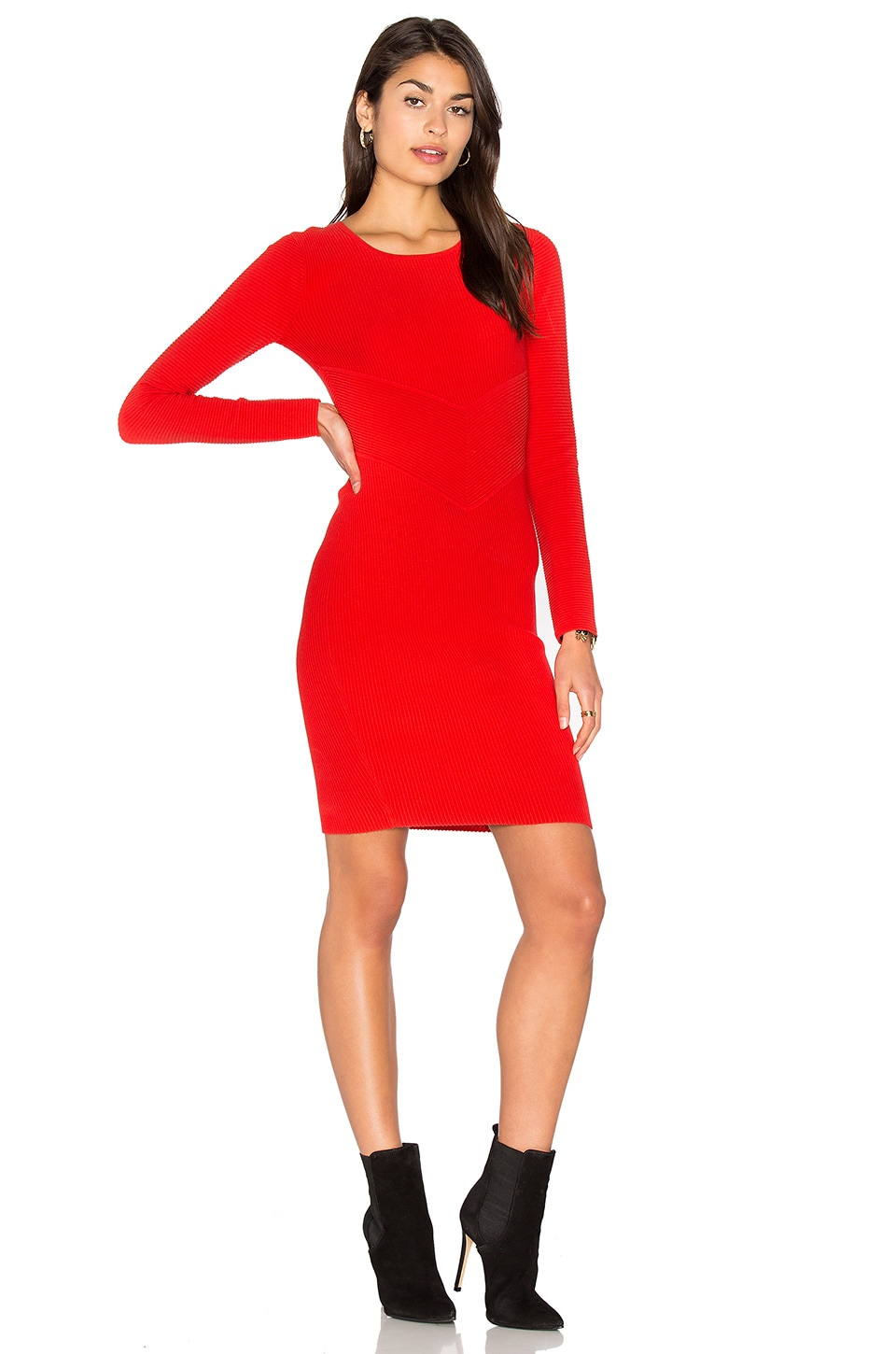 MILLY Angled Ottoman Sheath Dress in Red