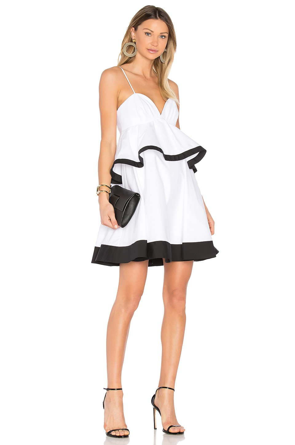 MILLY Melody Dress in White & Black