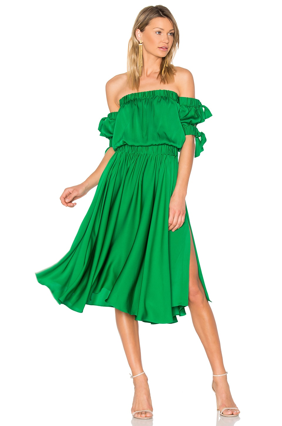 MILLY Zoey Midi Dress in Emerald | REVOLVE