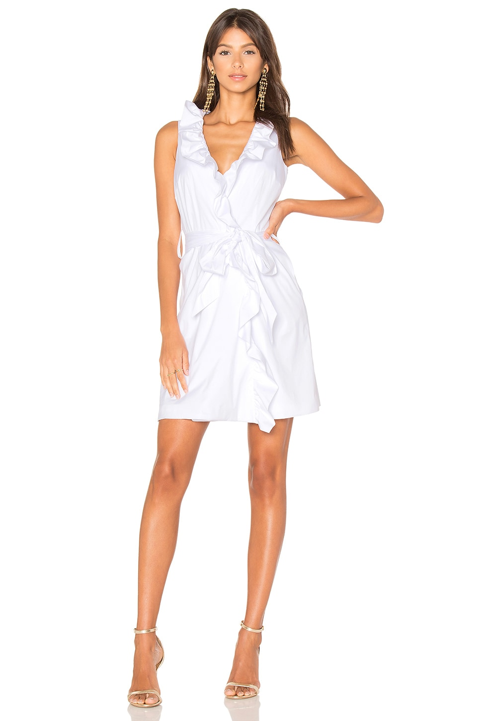 MILLY Ruffle Front Dress in White | REVOLVE