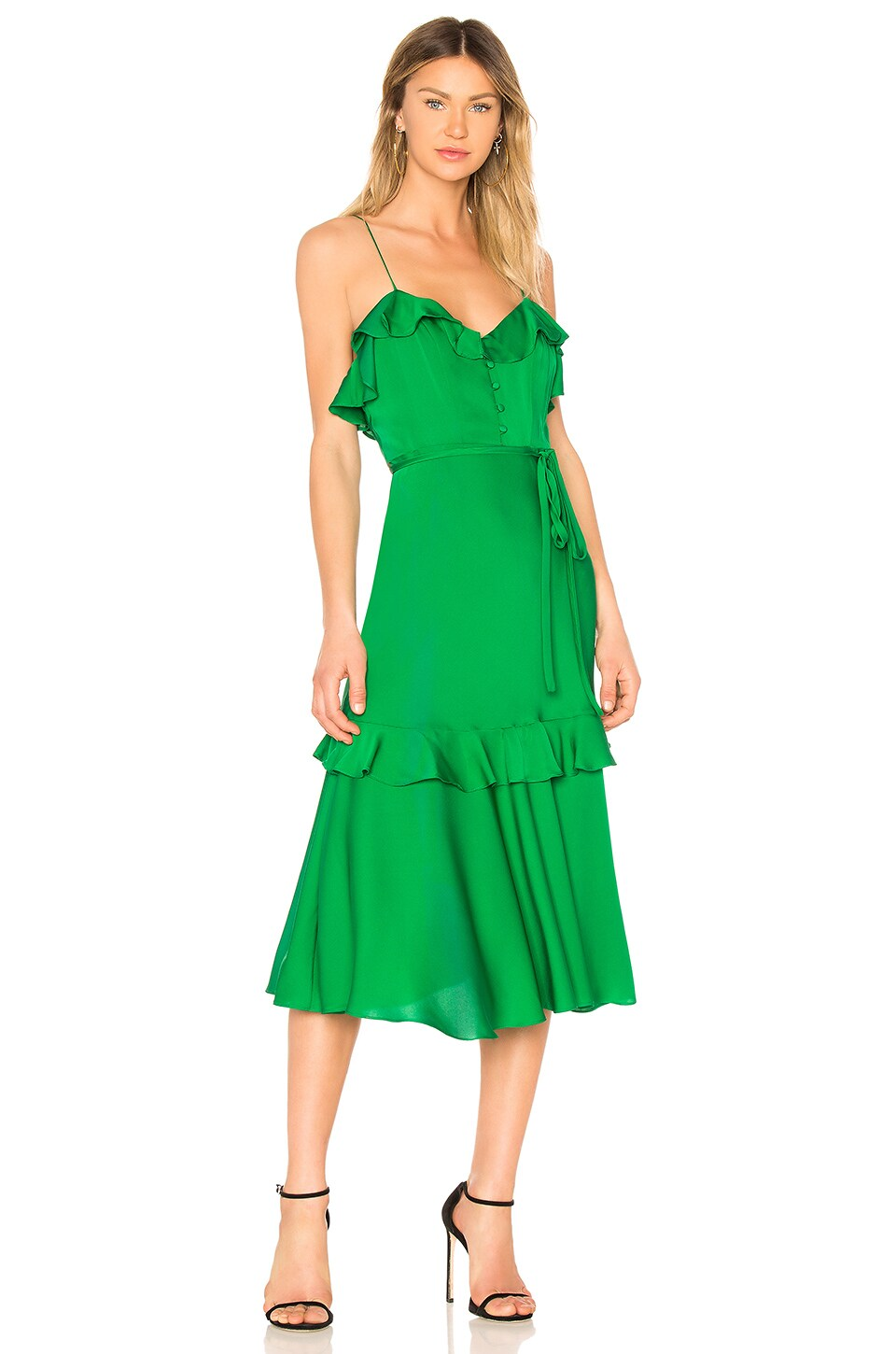 MILLY Petal Dress in Emerald | REVOLVE