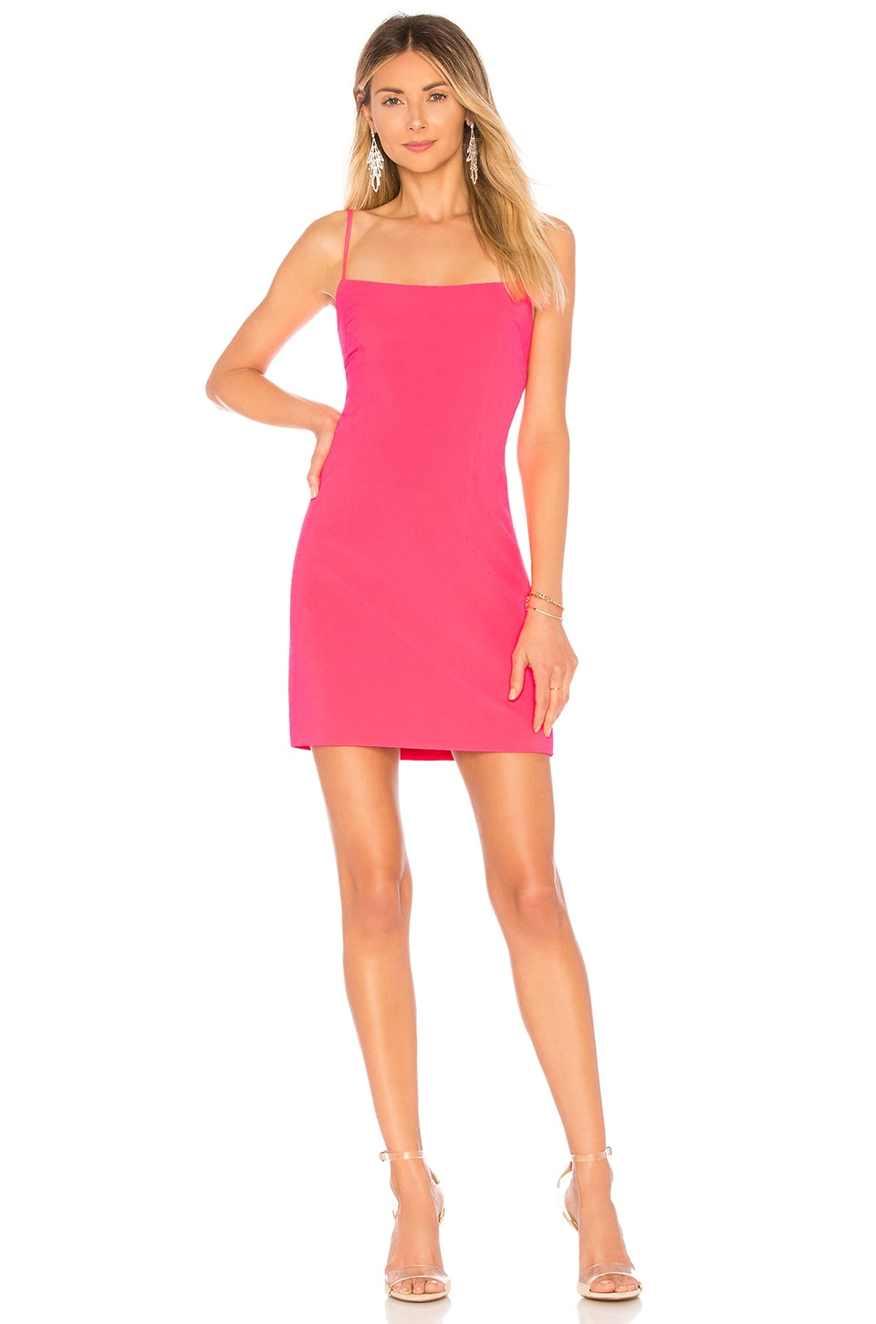 MILLY Mini Slip Dress in Fluo Pink