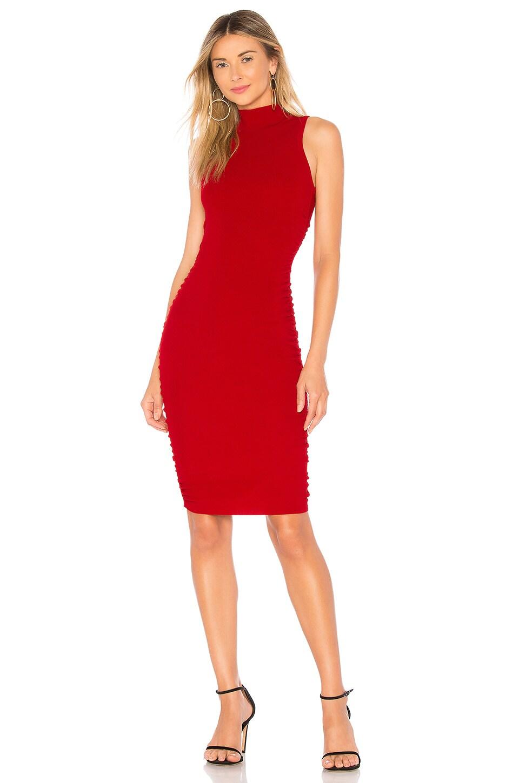 MILLY Shirred Side Sheath Dress in Ruby