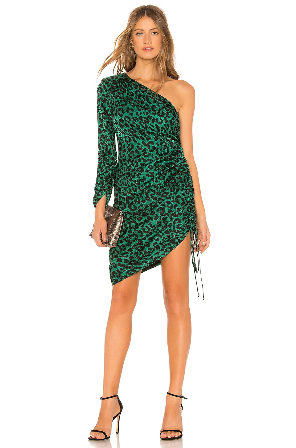MILLY Leopard Print Jacquard Dress in Emerald