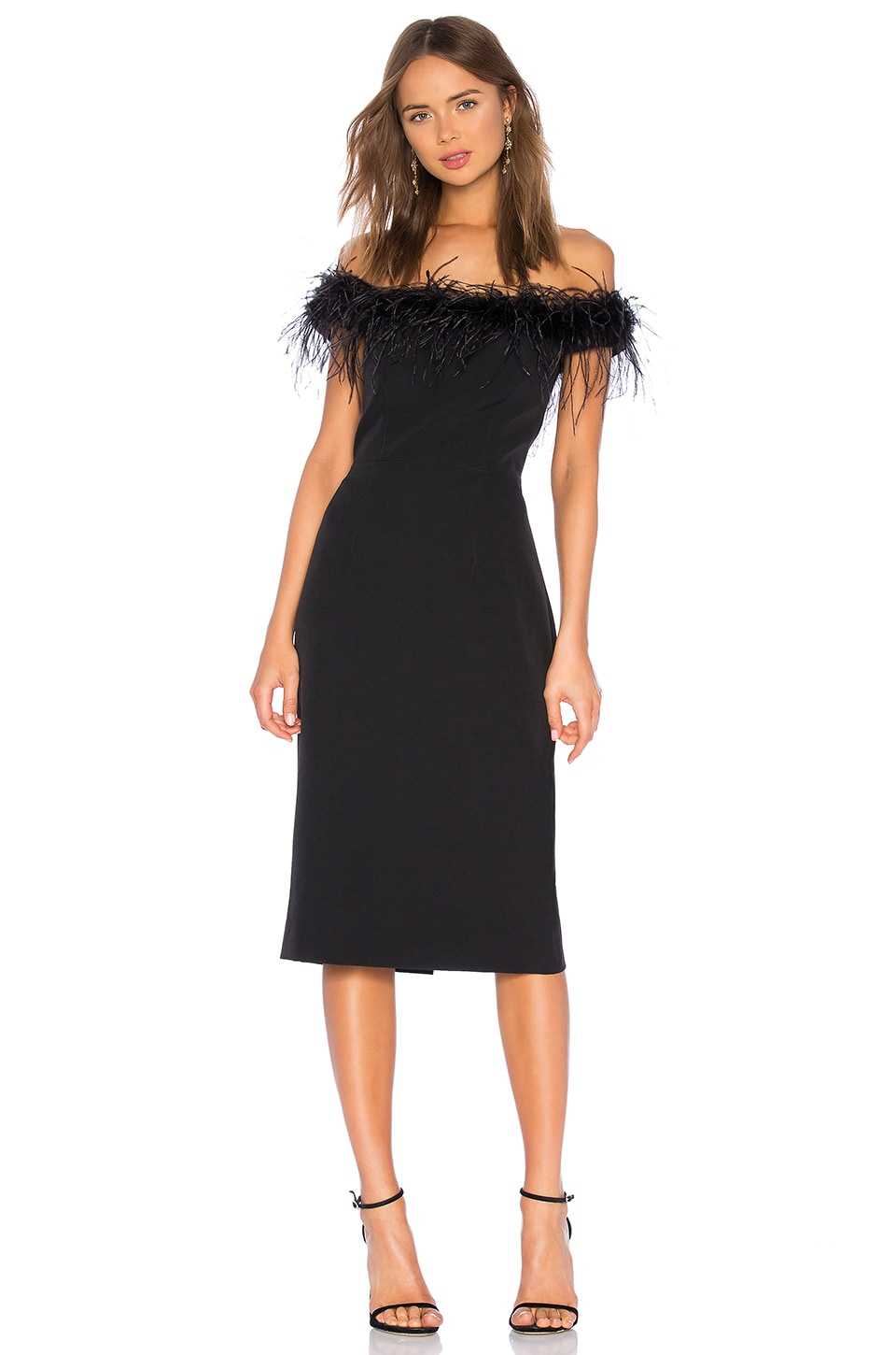 MILLY Feather Bodice Dress in Black