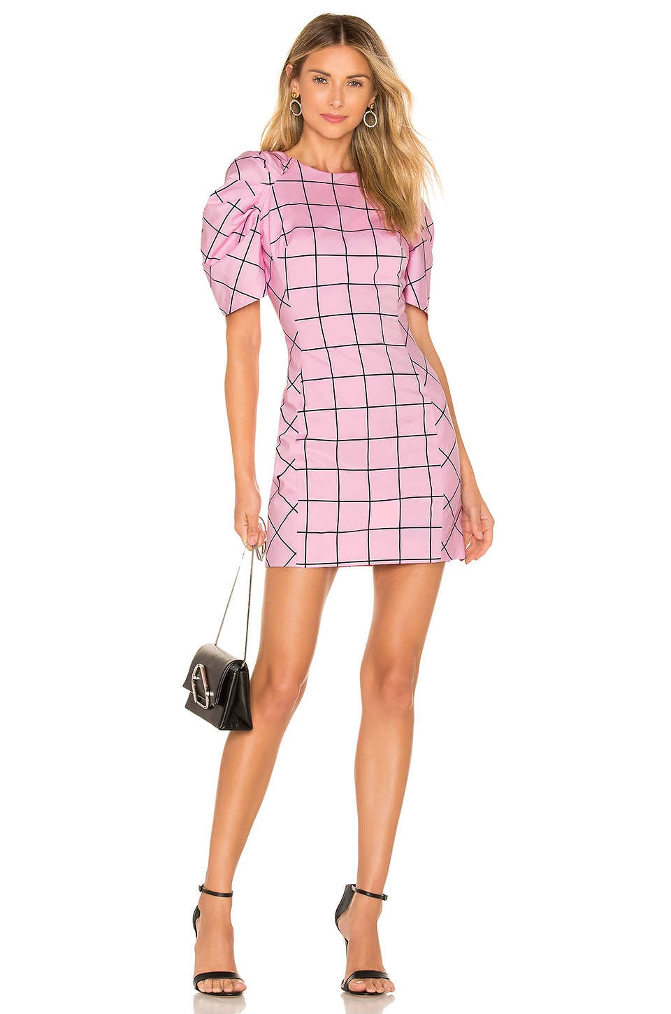 MILLY Techno Aria Dress in Pink & Black