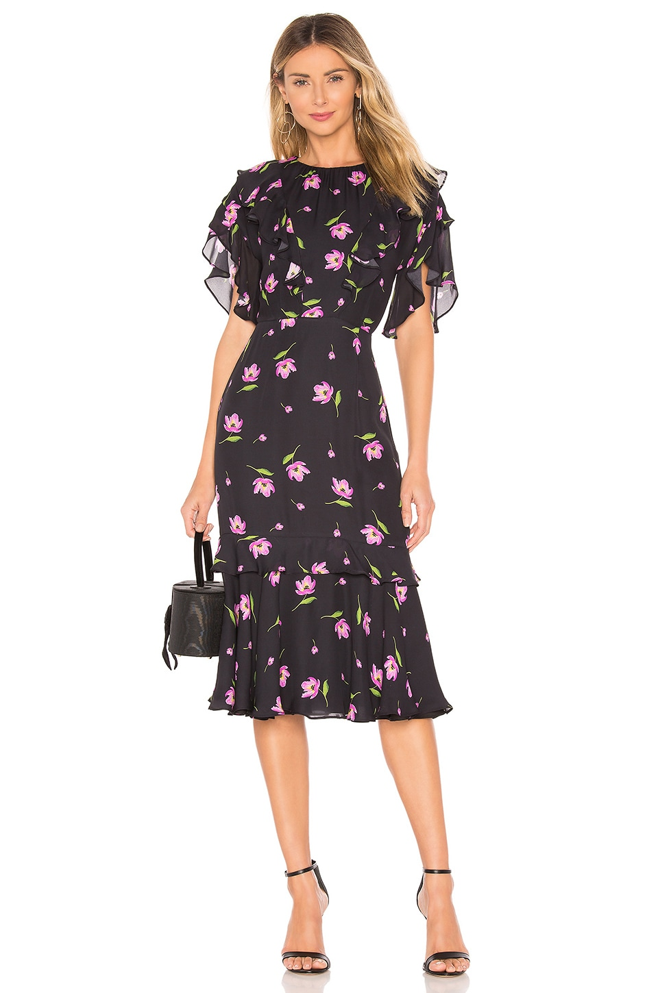 MILLY Gia Dress in Black & Pink