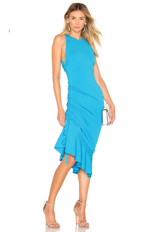 MILLY Shirred Side Dress in Ocean