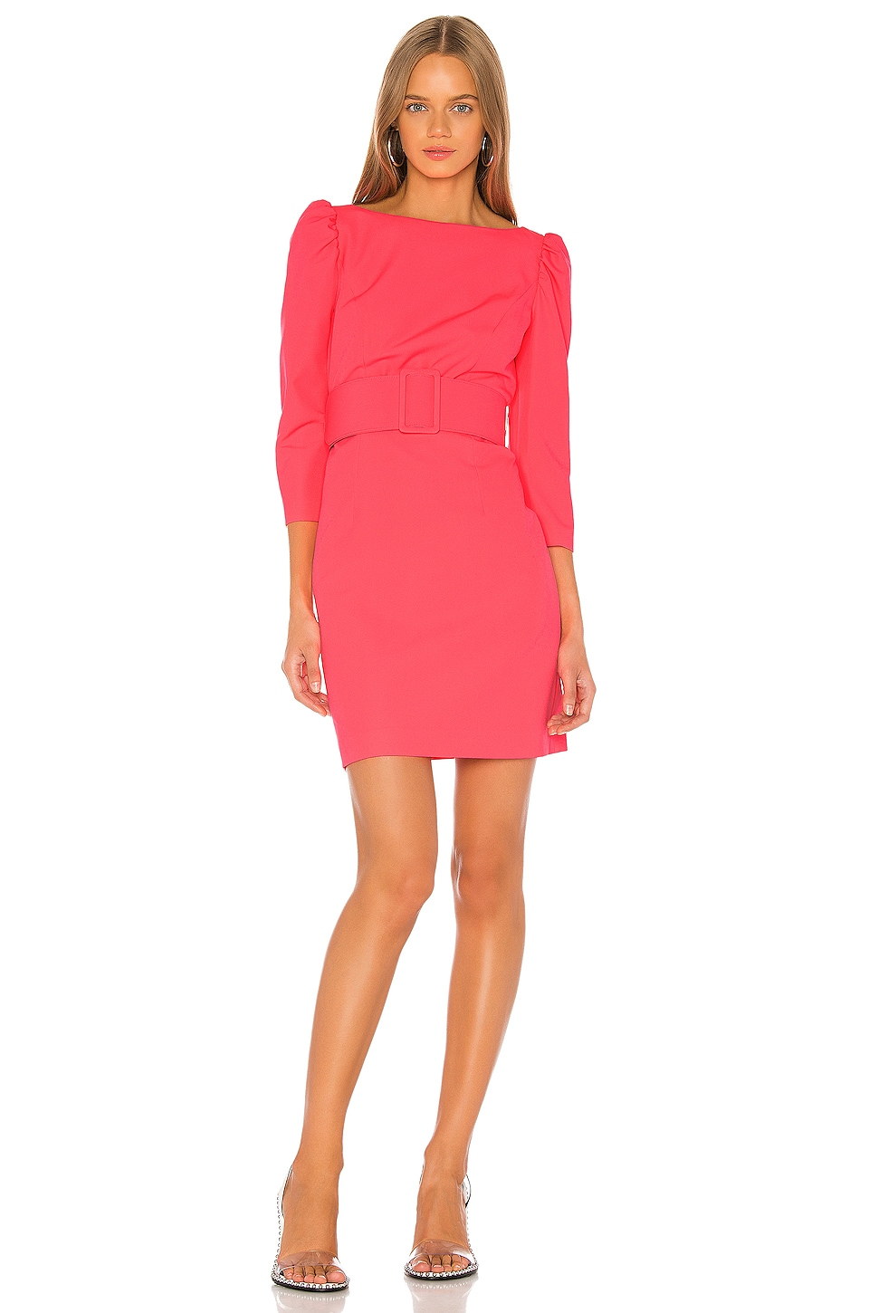 MILLY Belted Clare Puff Sleeve Dress in Bombshell Pink