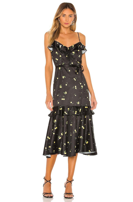 MILLY Cherry Print Stretch Satin Petal Dress in Black Yellow Multi