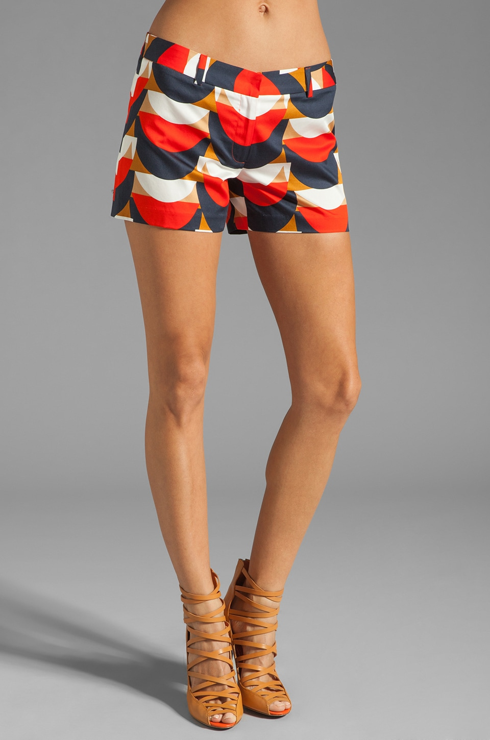 MILLY Scallop Print Dickies Short in Persimmon