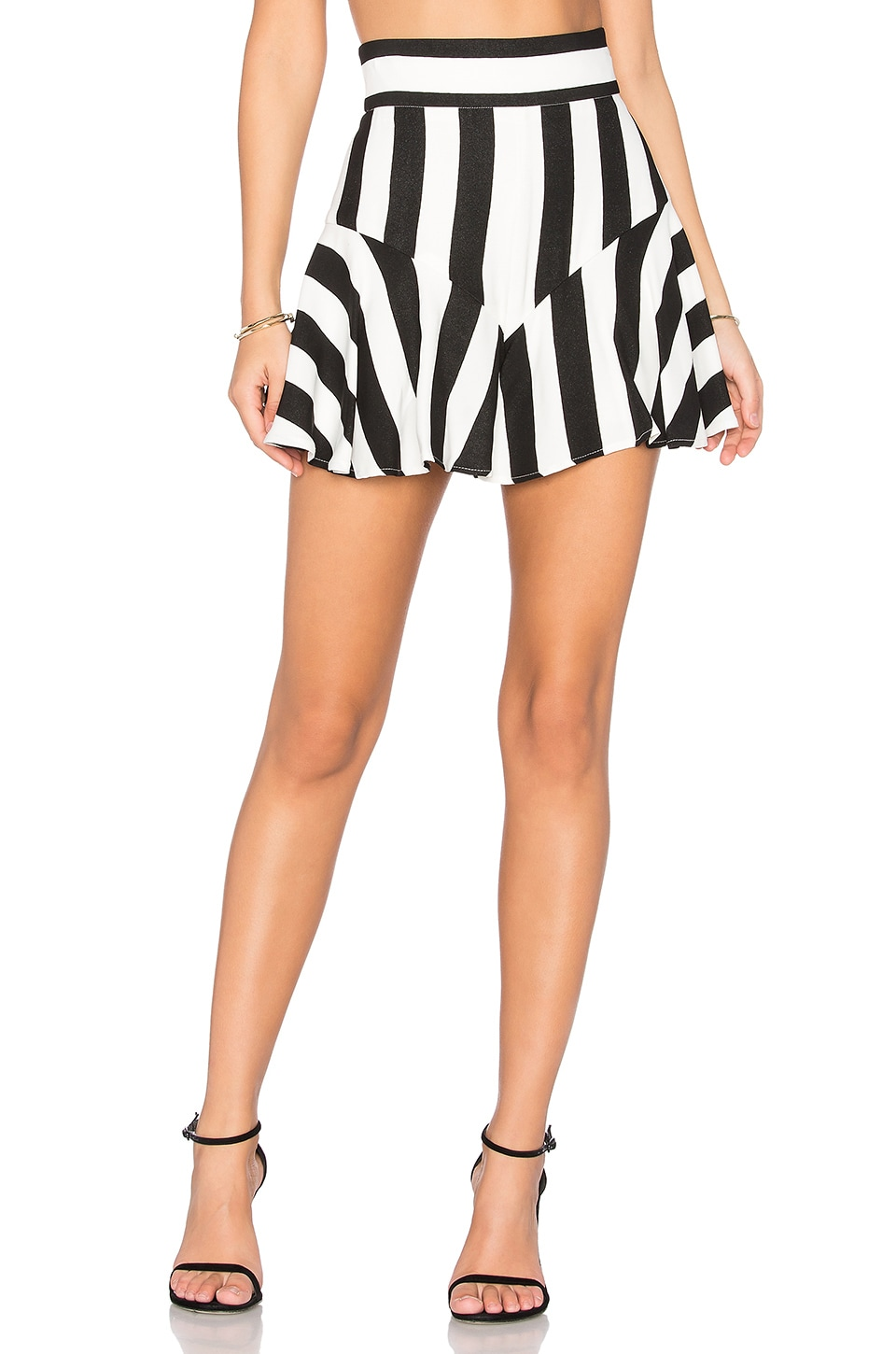 MILLY Flutter Culotte Shorts in Black & White