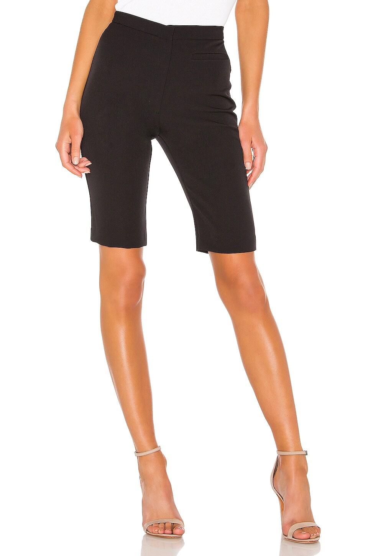 MILLY High Waist Skinny Bermuda Short in Black
