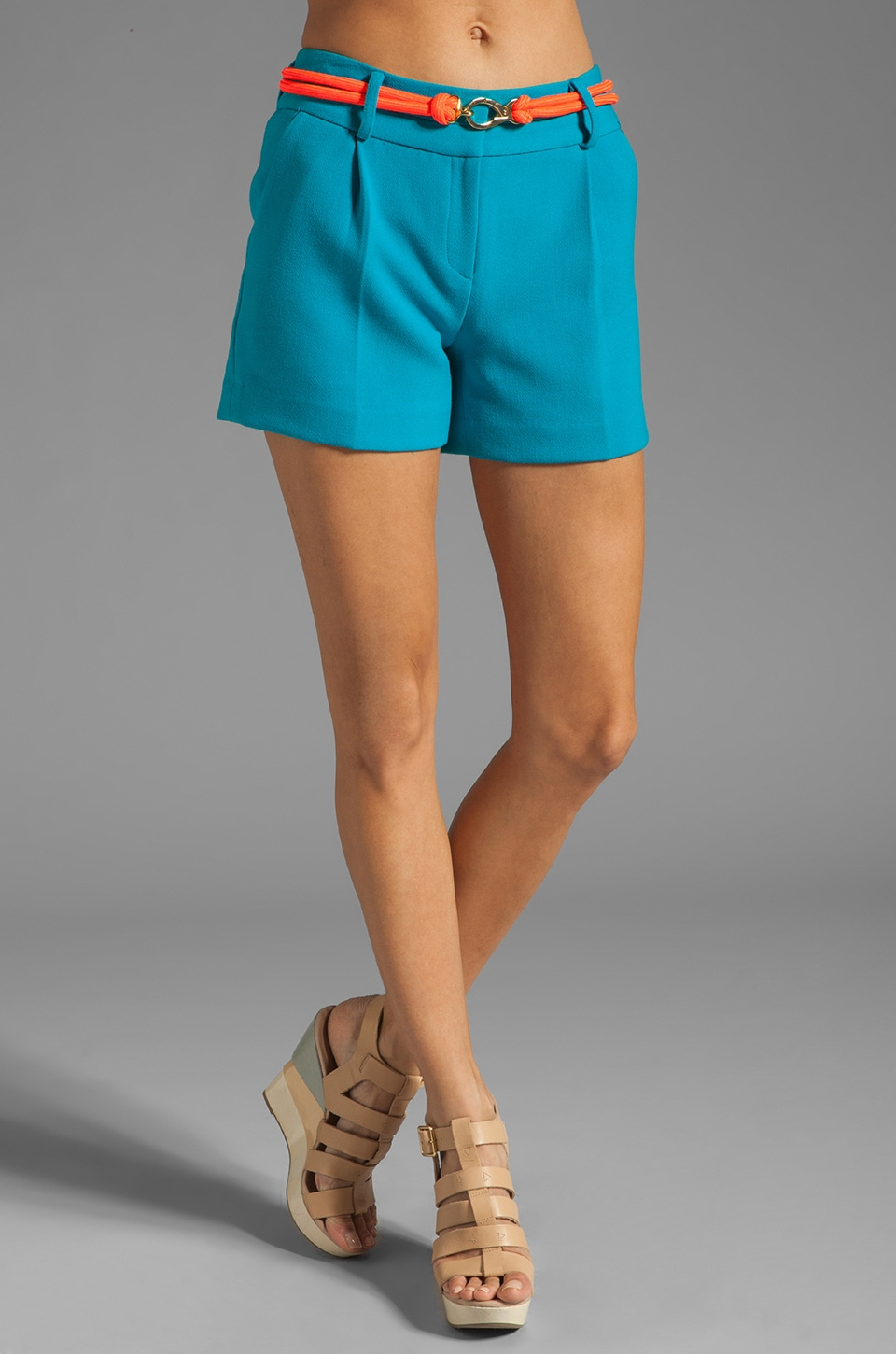 MILLY Doubleweave Crepe Side Pocket Short with Belt in Aqua